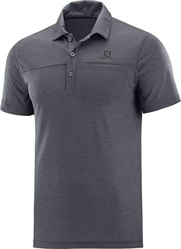 Salomon Herren Polo-Shirt, EXPLORE POLO, Polyester, grau (ebony), Größe: XL, LC1271800