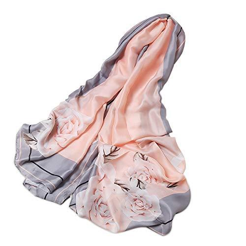 LumiSyne Sciarpa Di Seta Donna Fiore Stampato Moda Ed Elegante Stile Scialle Lungo e Morbido Foulard Calda Stole Protezione Solare Quattro Stagioni