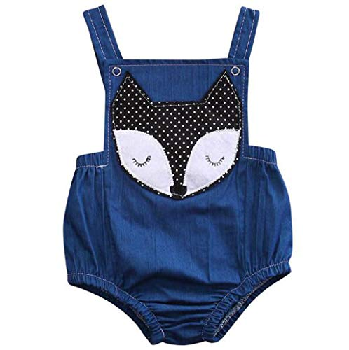 H.eternal - Mono de bebé para niña con Estampado de Zorro de Dibujos Animados, Cuello Redondo, sin Mangas, Mono de una Pieza, calzas de algodón, Ropa de Verano Azul Azul 12-18 Meses
