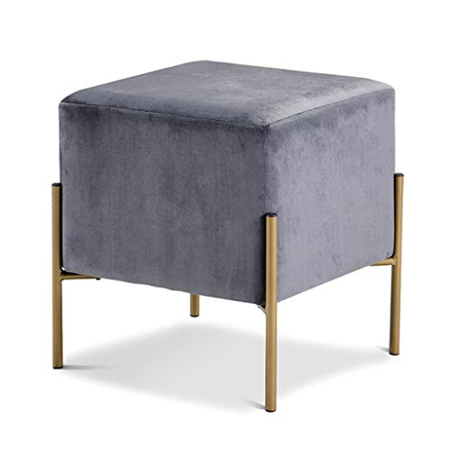 LH-Footstools 1 Taburete Puff con cojín de Franela y Patas de Banco de Metal/Hogar Multifuncional Taburete de Asiento/Alto 43cm / 4...
