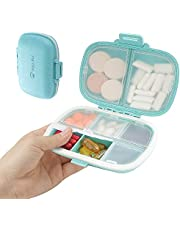 Miss Rui Travel Pill Organizer, 8 Compartments Locking Pill Case Carrier Moisture Proof, Small Daily Pill Container To Hold Vitamins, Cod Liver Oil for Pocket/Purse/Luggage