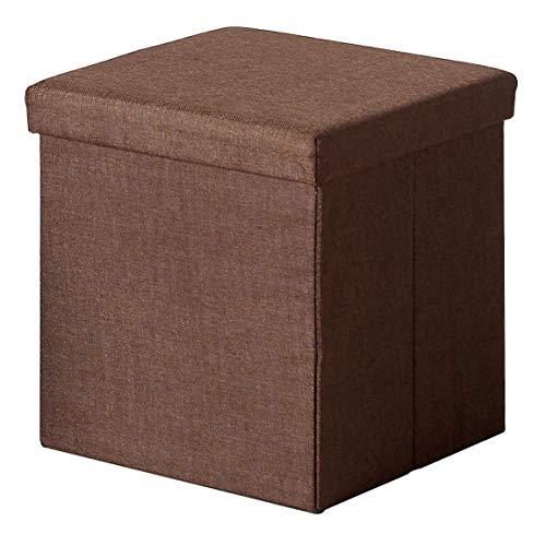 Miroytengo Pouf Tela Cuadrado Tapa Color Marron habitacion Salon almacenaje 41x40x40