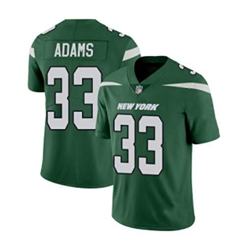 Darrell Adams # 33 New York Jets Herren-Trikot im Rugby-Trikot, Stickerei-Kurzarmspiele für Sport-Unisex-Fans Trikots Atmungsaktives T-Shirt Wiederholbare Reinigung-Green -L(180cm~185cm)