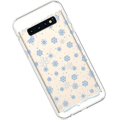 Qjuegad Compatible avec Samsung Galaxy S10 Plus Coque Ultra Thin Transparente Silicone en Gel TPU Souple Étui de Protection Anti-Choc/Anti-Scratch Housse Shell avec Coloré Motif, Série de Noël#14