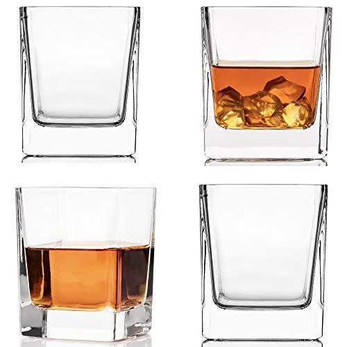 Juego de 4 vasos de whisky de cristal (10 onzas) – Vaso de whisky, bourbon, tequila, whisky, licor, ron, regalo para hombres, mujeres por Kemstood, vasos de cóctel de fondo grueso