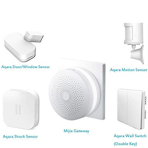 para Xiaomi Aqara Smart Home 5 en 1 Kit, Mijia Smart Home Remote Control Gateway, Aqara Window Door Sensor, Aqara Motion Sensor, Aqara Shock Sensor, Aqara Wall Switch