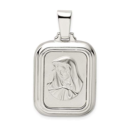 Saris and Things 925 sterlingsilber-Satin und Mary mit ave Maria gebet anhänger poliert