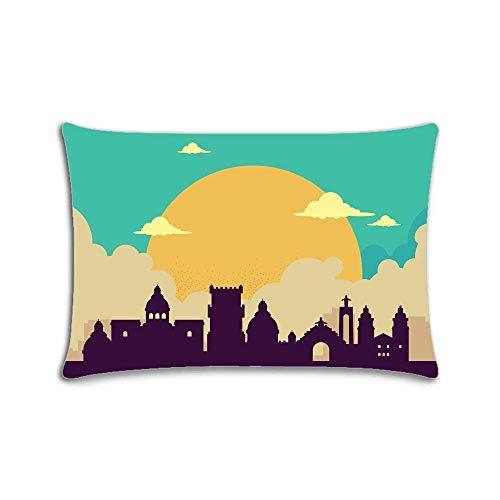 Fundas de almohada con cremallera y diseño colorido del Skyline de Lisboa de 20 x 30 pulgadas, impresión de dos lados