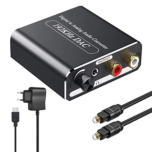 DAC Convertitore 192kHz,Ozvavzk Volume Regolabile Convertitore Audio Digitale Analogico Ottico a RCA e Jack 3.5mm con Cavo Ottico Adattatore per Dvd HDTV PS3