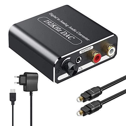DAC Konverter mit Lautstärkeregler,Ozvavzk Digital zu Analog Wandler 192Khz Digital SPDIF Toslink zu Analog Stereo L/R RCA 3,5 mm Jack Audio Adapter mit Optischem Kabel für PS3 PS4 Xbox HDTV