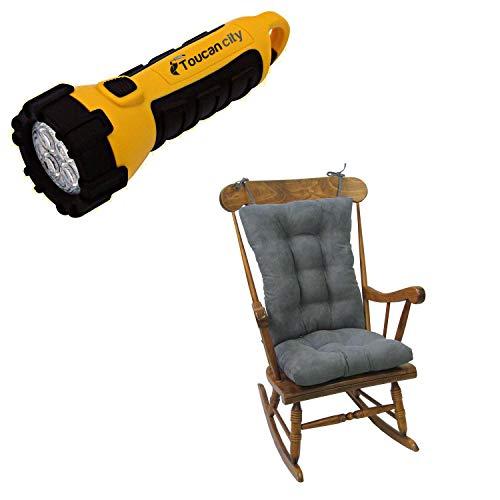 Toucan City LED Flashlight and Klear Vu Gripper Twillo Bluestone Jumbo Rocking Chair Cushion Set 849140XL-256