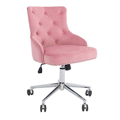 DMF Furniture Home Office Chair with High Back, Modern Design Velvet Desk Task Chair with Arms in Study Bedroom (Pink)