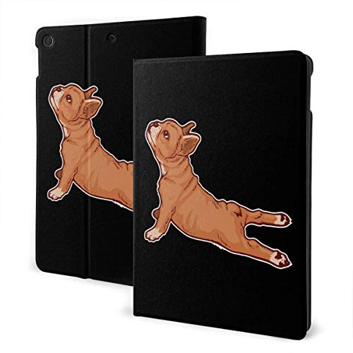 Case for iPad French Bulldog Yoga Dog PU Leather Business Folio Shell Cover with Stand Pocket and Auto Wake/Sleep for iPad Air 10.5'