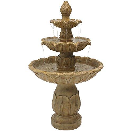 Sunnydaze Classic Tulip Outdoor Water Fountain - 3-Tier Waterfall Fountain & Backyard Water Feature for Patio, Yard, Garden - 46 Inch Tall