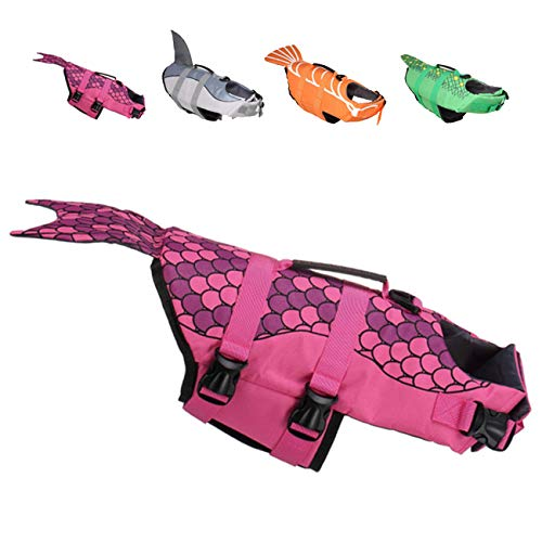 Huret Dog Life Jackets, Ripstop Pet Floatation Life Vest for Small, Middle, Large Size Dogs, Dog Lifesaver Preserver Swimsuit for Water Safety at Pool, Beach, Boating, Mermaid, S