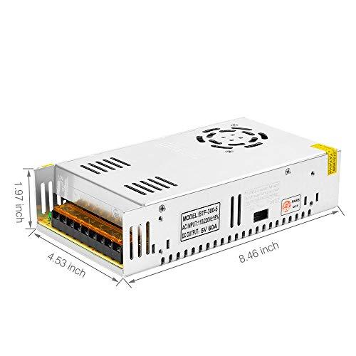 BTF-LIGHTING DC5V 60A 300W Aluminium Netzteil Adapter LED Transformator Schalter Treiber für WS2812B SK9822 WS2813 APA102 WS2801 SK6812 LED-Streifenmodule Licht