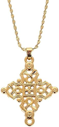 YZXYZH Collar Grandes Cadenas Cruzadas De Oro para Mujeres, Hombres, Cruces Etíopes, Dijes, Colgantes, Joyería Religiosa, Regalos, Collares, Longitud 50Cm