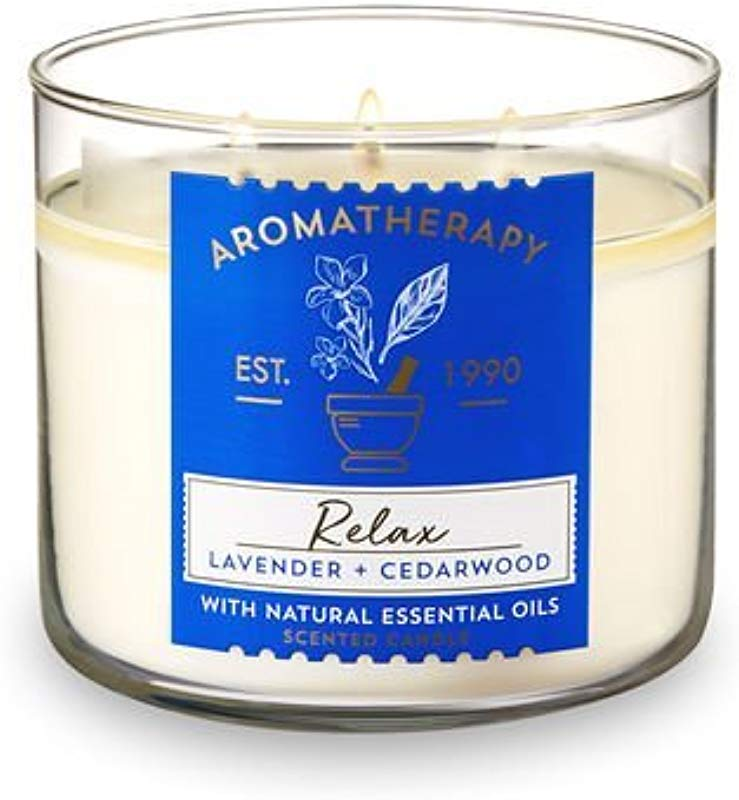 Bath And Body Works 3 Wick Scented Relax Aromatherapy Candle Lavender And Cedarwood 14 5 Ounce With Natural Essential Oils