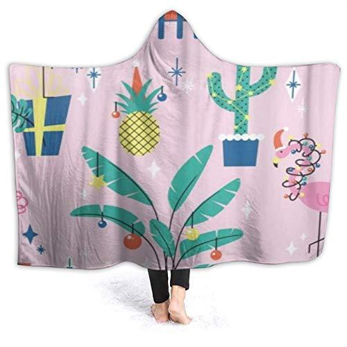 HATESAH Tragbare Hoodie Decke,Rosa Ananas Weihnachten mit tropischen Pflanzen und...