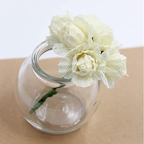 6Pcs Burlap Rose Artificial Flowers Bouquet Jute Flowers For Home Wedding Party Car Decoration Scrapbooking Wreath Fake Flowers(Bouquet Only),Beige