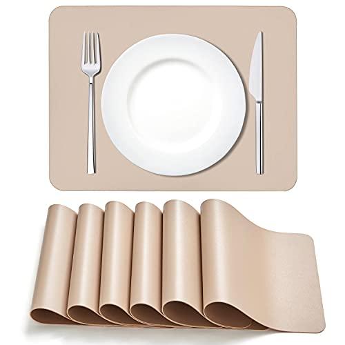 MORROLS Tischsets Abwaschbar, Tischset Leder 6er Set Abwischbar Lederoptik Kunstleder Wasserdicht PVC Platzset, Platzdeckchen für Küche Speisetisch, 42x30cm