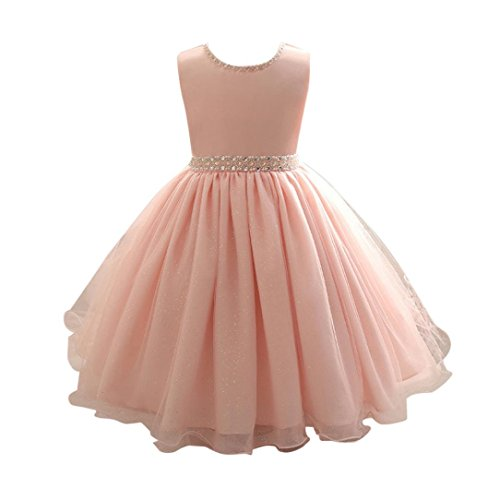 OVERDOSE Kinder Mädchen Perlen Kleid Prinzessin Formale Festzug Urlaub Hochzeit Brautjungfer Kleid Party Abend Kleider(A-Rosa,7T)