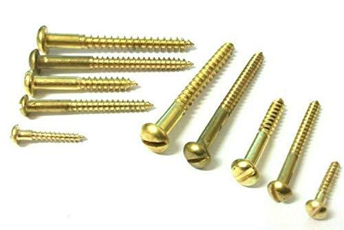 MN Tornillos de latón macizo para madera con cabeza redonda y elevada, n.º 6 x 30 mm, 20 unidades
