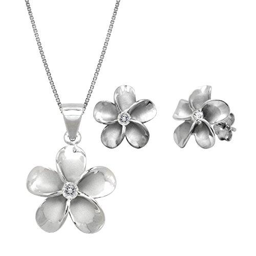 Sterling Silber Anhänger Halskette Zirkonia Hawaiian Plumeria & Plumeria Ohrstecker CZ Ohrringe Set