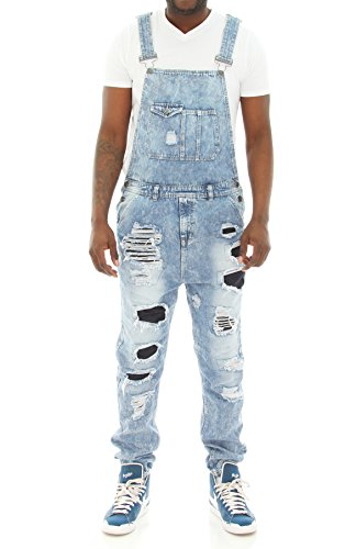 Imperious Men's Rip and Repair Denim Overall Jogger Pants-Light Blue-S