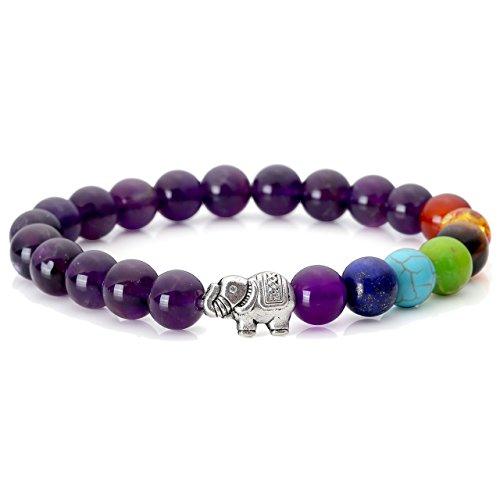 Jovivi 7 Chakra Amethyst Stone Yoga Balancing Reiki Healing Bracelet Women Elephant Lucky Charm Jewellery