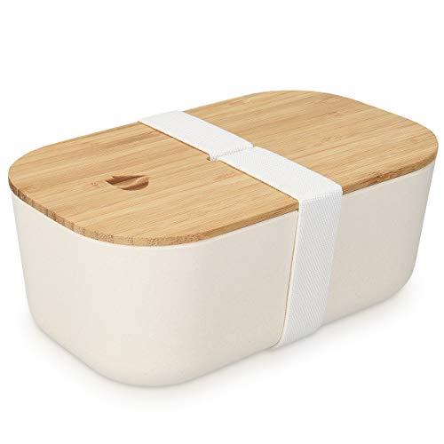 Navaris Recipiente hermético de Comida - Fiambrera Estilo bento con Tapa de bambú - Contenedor ecológico para Colegio o Trabajo en Blanco 1100ML
