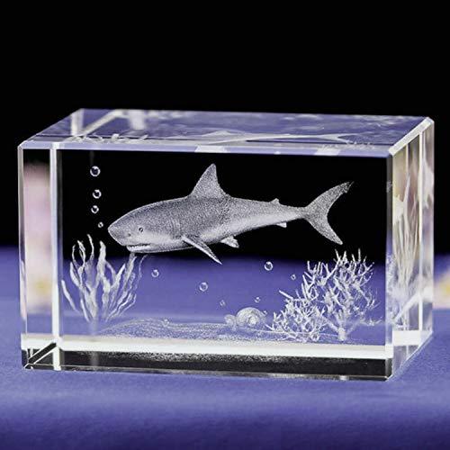 ERN Kristallglas Figur - Weißer Hai - 3D Laser Glas Skulptur | 30 x 45 x 30mm | Deko & Geschenkidee