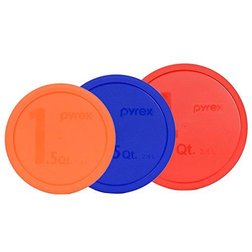 Pyrex (1) 326-PC 4qt Red (1) 325-PC 2.5qt Blue (1) 323-PC 1.5qt Orange Mixing Bowl Lids - 3 Pack