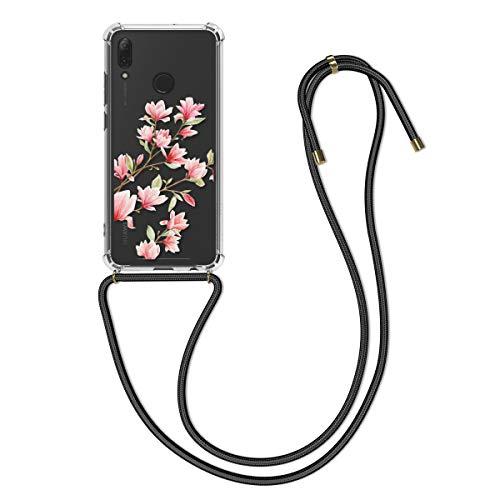 kwmobile Hülle kompatibel mit Huawei P Smart (2019) - mit Kordel zum Umhängen - Silikon Handy Schutzhülle Magnolien Rosa Weiß Transparent