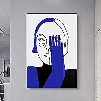 キャンバスに印刷70x90cmフレームなし人間の顔抽象的なキャンバスポスターリビングルームの寝室の家の装飾のためのモダンな青と茶色の図の写真