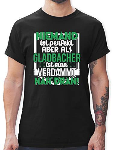Städte - Niemand ist perfekt Gladbacher - L - Schwarz - lustige t-Shirts männer - L190 - Tshirt Herren und Männer T-Shirts