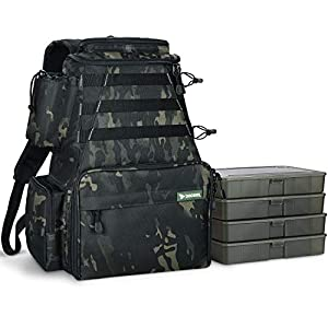 Rodeel Fishing Tackle Backpack with 4 Tackle Tray, 4 Fishing Rod Holders, Large Storage, Water Resistant & Weatherproof Backpack for Trout Fishing Outdoor Sports Camping Hiking