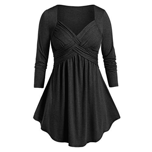 GOKOMO Elegante Frauen Damen Herbst Casual Rundhals Solide Lose Beiläufige Tägliche Lange Ärmel T-Shirt Top Bluse Pulli Tees(Schwarz,XXXXX-Large)