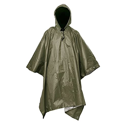 JUQIAO 1 impermeable mochila cubierta de lluvia 3 en 1 actividades al aire libre poncho capucha senderismo lluvia cubierta al aire libre tienda de campaña (verde militar)