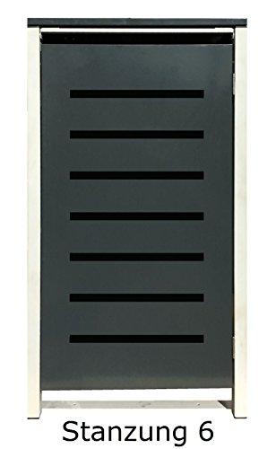 BBT@ | Hochwertige Mülltonnenbox für 3 Tonnen je 240 Liter mit Klappdeckel in Grau / Aus stabilem pulver-beschichtetem Metall / Stanzung 6 / In verschiedenen Farben sowie mit unterschiedlichen Blech-Stanzungen erhältlich / Mülltonnenverkleidung Müllboxen Müllcontainer - 6