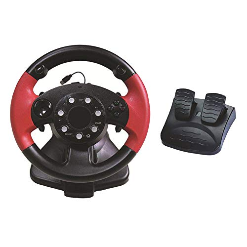 figatia Gaming Racing Simulator Vibration PC Steering Wheel & Pedal for PS3/PS2