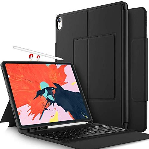 IVSO Tastatur Hülle für Apple iPad Pro 11, Wireless Nicht abnehmbar Tastatur Schutzhülle mit Standfunction für Apple iPad Pro 11 Zoll 2018 Tablet (QWERTZ, deutsches Layout), Schwarz