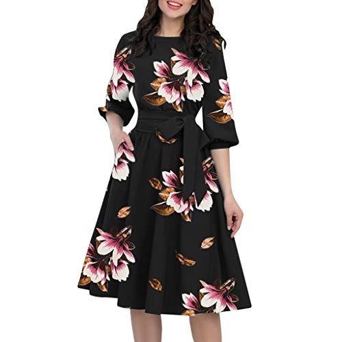 LOPILY Damen Abendkleider Partykleid Blumenmuste Plisse Swing Kleider Festliche Kleider Cocktailkleid mit Schärpe Laternenärmel Sommerkleider(Schwarz,DE-38/CN-M)
