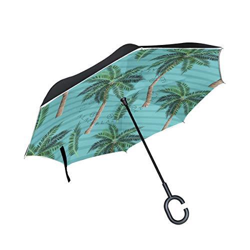 ISAOA Doppelschichtiger umgekehrter faltbarer Regenschirm, selbststehender und auf links stehender Autoschirm, Hawaii-Nostalgie-Stil, winddichter Regenschirm, umgekehrter Regenschirm mit UV-Schutz