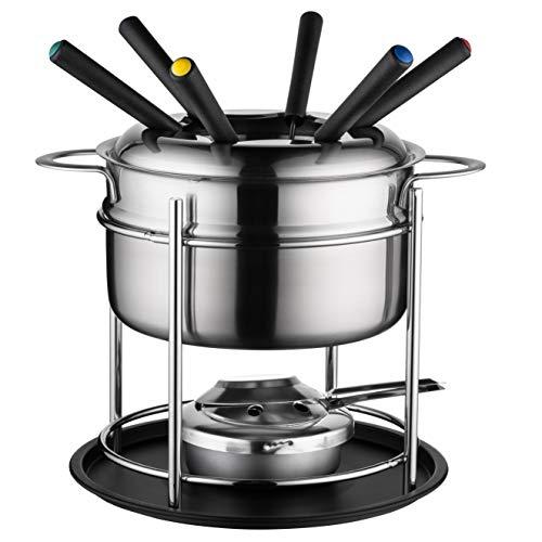 MÄSER 931896 - Set per fonduta per 6 persone, ideale per fonduta di carne, set da 11 pezzi, con forchette da fonduta e bruciatore per fonduta, in bella confezione regalo, in acciaio inox, 1,7 litri