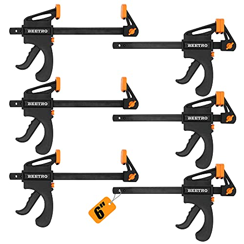 BEETRO Quick Grip Bar Clamps, One Hand Bar Clamps, 6-Inch, 6-Pack, for Carpentry, Furniture Projects, Woodworking and More