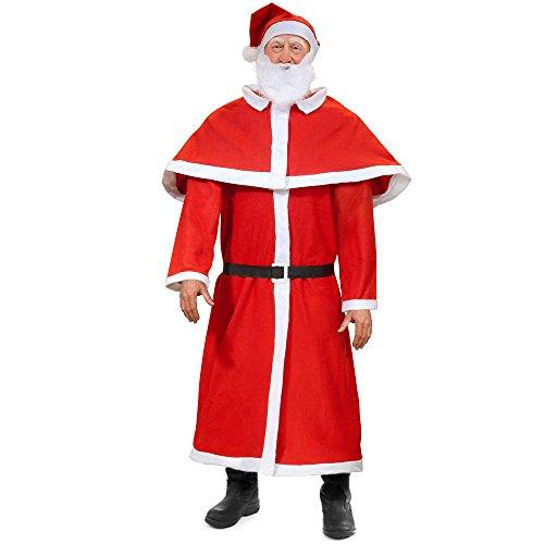 Deuba 5tlg. Set Weihnachtsmann Kostüm Nikolaus Anzug Erwachsenen Santa Claus Cosplay Verkleidung Einheitsgröße M - XXXL