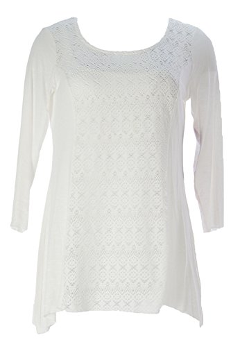 Miraclebody by Miraclesuit Women's Mix Media Eyelet Scoop Neck Top Sz X-Large Ivory