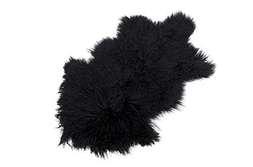 Tibet Lammfell Teppich Tierform (große Farbauswahl) Farbe schwarz JAY37 TP2