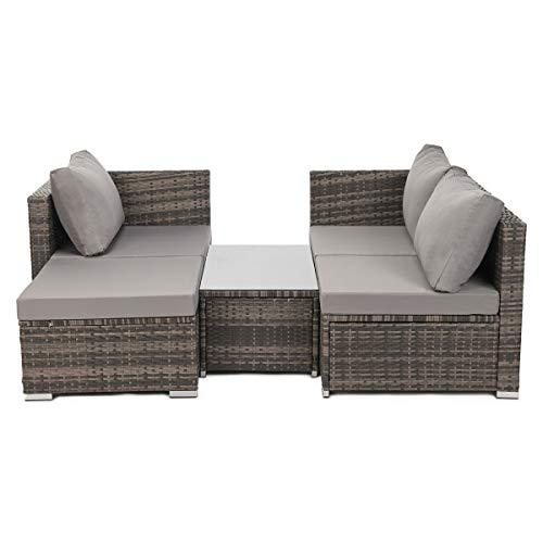 SVITA Queens 2020 Poly Rattan Sitzgruppe Couch-Set Ecksofa Sofa-Garnitur Gartenmöbel Lounge Schwarz, Grau oder Braun (Braun) - 6
